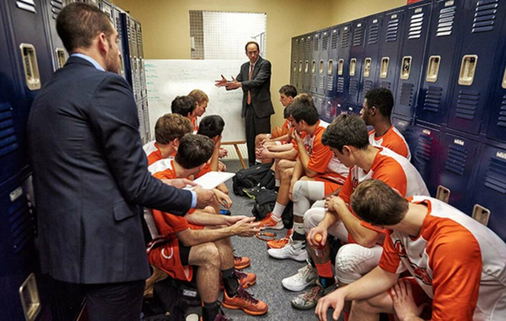 Dr. Eslinger talks to players in the locker room. How to take court confidence to another level.