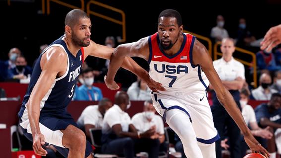 El jugador de referencia, Kevin Durant, en una penetración a canasta. Imagen de nba.com 4 conceptos del Team USA para cadetes