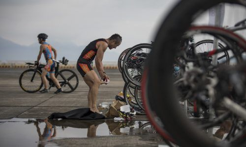 Japanese nationals and Marine Corps Air Station (MCAS) Iwakuni residents and service members participate in the 31st MCAS Iwakuni Triathlon at MCAS Iwakuni, Japan, Sept. 16, 2018. The annual community relations event is hosted by Marine Corps Community Services' Semper Fit division and is a way to bring the two cultures closer through swimming, bicycling and running. (U.S. Marine Corps photo by Sgt. Joseph Abrego)